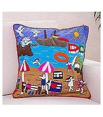 applique cushion cover, 'summer fun' (peru)