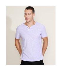 camiseta masculina básica manga curta gola portuguesa lilás