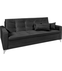 sofá cama 3 lugares facility reclinável império estofados preto