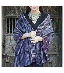 silk and cotton blend batik shawl, 'romance in gray' (thailand)