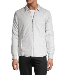 boss hugo boss men's landolfo cotton-blend jacket - grey - size xl