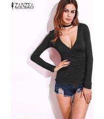 zanzea resorte de las mujeres blusas camisas con cuello en v bajo la manga larga del corte placas radiantes flaca delgada strech plus tamaño pullover negro -negro
