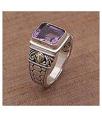 amethyst and gold accent single stone ring, 'purple extravaganza' (indonesia)