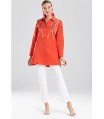 natori cotton poplin embroidered tunic top, women's, orange, size s natori