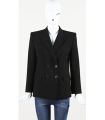 givenchy black wool mohair blazer jacket black sz: s