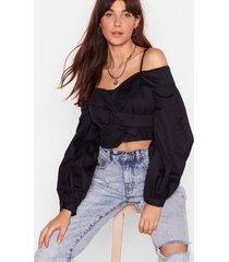 womens back off-the-shoulder cropped blouse - black