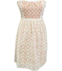 vestido encaje strapless blanco nicopoly