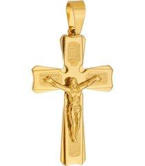 pingente crucifixo tudo jóias grande de aço inox dourado