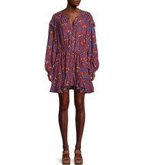 free people women's flower fields mini dress - burgundy - size xs