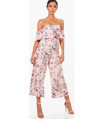 floral print off shoulder culotte jumpsuit, multi