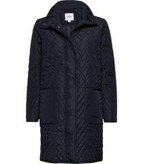 u7013, quilted jacket gevoerde lange jas blauw saint tropez
