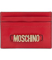 embellished logo leather card case