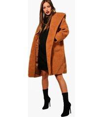 petite oversized hooded teddy coat, camel