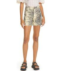 ganni high waist zebra print denim shorts, size 28 in pale banana at nordstrom
