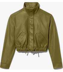 proenza schouler white label leather cropped jacket military/green l