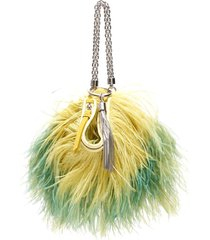 jimmy choo callie chain evening clutch with feathers
