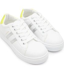 tenis fashion franjas plata color blanco, talla 36