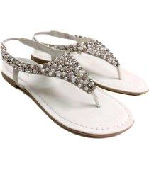sandalia blanca abryl calzados strass link