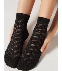 calzedonia glitter ankle socks woman black size tu