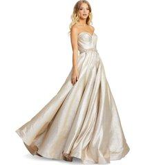 mac duggal strapless metallic gown