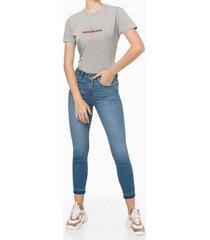 camiseta feminina estampa ckj cinza calvin klein jeans - pp
