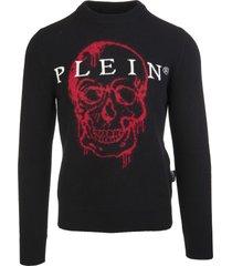 philipp plein man black skull intarsia round-neck pullover