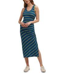 dkny side-ruched striped midi dress
