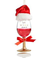 holiday lane foodie and spirits red wine glass with santa hat ornament created for macy's