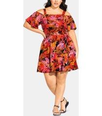 city chic trendy plus size sunrise cold-shoulder dress