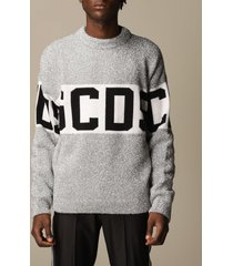 gcds sweater gcds pullover in lurex wool blend with logo