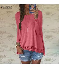 zanzea mujer de encaje de ganchillo manga larga casual tops holgada blusa de la camisa pullover -melon rojo