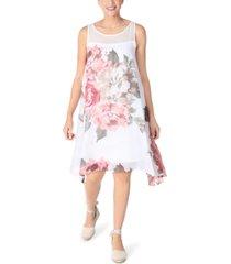 robbie bee petite sleeveless floral-chiffon trapeze dress