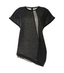 y's camiseta assimétrica com drapeado - cinza