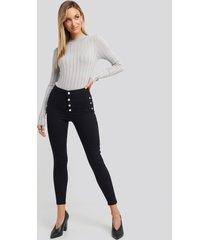 trendyol button detailed high waist skinny jeans - blue