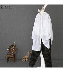 zanzea más el tamaño de las mujeres de manga larga casual botones abajo tapas de la camisa de gran tamaño de la blusa de la túnica -blanquecino