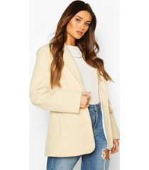 luxe brushed wool look oversized blazer coat, ivory