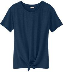 shirt met ronde hals en bindstrik voor, marine 36/38