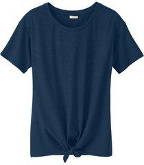 shirt met ronde hals en bindstrik voor, indigo 34