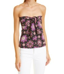 rachel comey beach strapless cotton top, size 2 in black multi at nordstrom