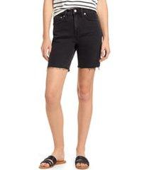 women's madewell high waist mid length denim shorts, size 25 - black