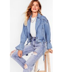 womens tie need you now denim belted jacket - light blue