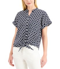 charter club printed tie-front top, created for macy's