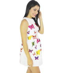 vestido blanco mariposas multicolor vt-00134