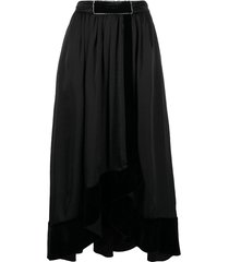 philosophy di lorenzo serafini contrast-panelled velvet skirt - black