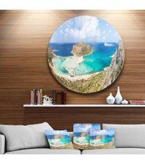 "designart 'balos beach at crete island greece' oversized beach metal circle wall art - 38"" x 38"""