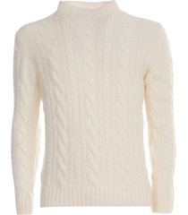 tagliatore wool sweater high neck w/braid