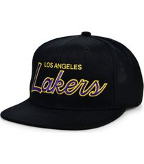 mitchell & ness los angeles lakers heritage script snapback cap