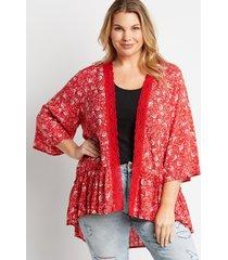 maurices plus size womens red floral crochet trim kimono