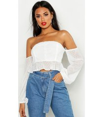 dobby spot off shoulder long sleeve crop top, white