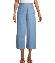 bcbgeneration women's cropped wide-leg pants - light blue - size 2